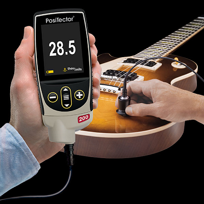 PosiTector200 3 Measure On Guitar resize PosiTector® 200 Coating Thickness Gages for Wood, Plastic, Concrete